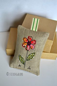 Linen Lavender bag decorated with applique and free motion machine embroidery handmade by Stitch Galore www.stitchgalore.com