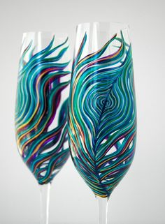 Peacock Feather Champagne Flutes. Hand-painted by Mary Elizabeth Arts >> these are exquisite!!