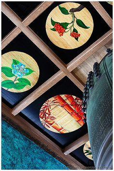 Painted ceiling and temple bell JAPAN