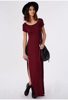 Krista T-Shirt Style Side Split Maxi Dress Oxblood - Dresses - Maxi Dresses - Missguided