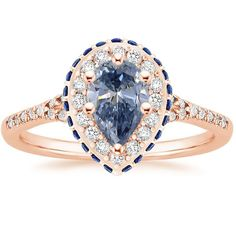 14K Rose Gold Circa Diamond Ring with Sapphire Accents (1/3 ct. tw.), top view