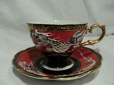 SHAFFORD JAPAN TEXTURE RED DRAGON TEA CUP AND SAUCER