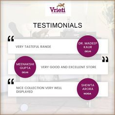 We all love to receive a happy client testimonial. Thanks alot Dr.Madeep Kaur, Meenakshi and Shewta for sharing your experience.  #Happycustomer #Customerreview #Vrieti #Homedecor