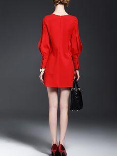 Casual Cotton-blend Paneled Balloon Sleeve Mini Dress