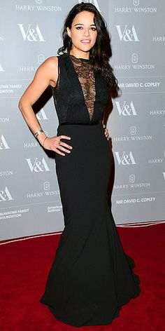 MICHELLE RODRIGUEZ Here's another seriously sexy way to show sternum: in a plunging, lace-panel mermaid gown, which the actress wears with bangles and smoky eyes to the Victoria & Albert Museum Hollywood Costume gala in London