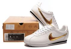 france Nike Cortez Homme Leather chaussures blanche or