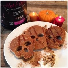 Halloween Skull HER WHEY Protein Pancakes Find the full recipe at nlaforher.com @NLA for Her Sports Supplements for Women #teamnla