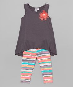 Loving this Gray Flower Tunic & Sunset Stripe Leggings - Toddler & Girls on #zulily! #zulilyfinds