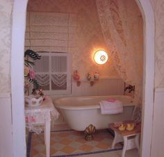 New bathroom, with a romantic touch, Still working on it. Romantic Bathrooms, Clawfoot Bathtub, Miniatures, Farmhouse, Touch, Country, Clawfoot Tub Shower, Rural Area, Rural House