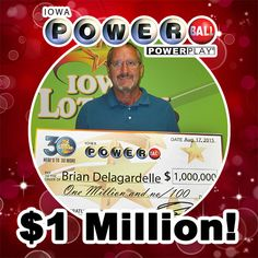 Congratulations to Brian Delagardelle of Jesup. Brian picks his own numbers and is a regular #Powerball player. He buys his tickets at what he calls a 'lucky store,' Pronto, 7305 La Porte Road in Washburn and he ended up winning $1 million! #WooHoo
