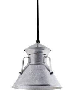 "9"" Colby Pendant, 49-Galvanized | SBK-Standard Black Cord"