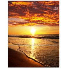 DesignArt Vibrant Yellow Sun and Calm Waves - 3 Piece Graphic Art on Wrapped Canvas Set