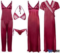 WOMENS SATIN LACE LONG NIGHTDRESS LADIES NIGHTIE PYJAMA SET ROBE 6PC SET in Clothes, Shoes & Accessories, Women's Clothing, Lingerie & Nightwear | eBay