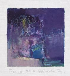 Dec. 6, 2016 - Original Abstract Oil Painting - 9x9 painting (9 x 9 cm - app. 4 x 4 inch) with 8 x 10 inch mat by hiroshimatsumoto