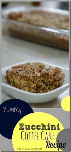 Zucchini Coffee Cake Recipe - This is the BEST zucchini recipe I've found!!! Yummy for breakfast, dessert, or taking to a potluck.