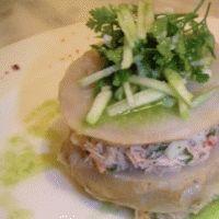 Mille-feuille d'artichaut crabe et Granny-Smith (Un chef à domicile) : à consommer quelquefois avec modération