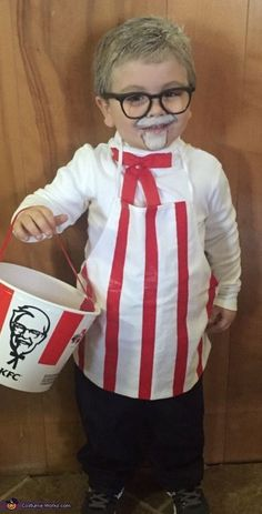 KFC Colonel Sanders Kentucky Fried Chicken Halloween Costume idea cute for kids and fast food costumes. Easy DIY Halloween costume for toddlers, kids or adults. Creative easy ideas to dress your kids for Halloween. Group or family costumes ideas for Hall Diy Halloween Costumes For Kids, Halloween Costume Contest, Costume Ideas, Zombie Costumes, Homemade Kids Costumes, Halloween Couples, Family Halloween, Halloween Office, Diy Boys Costume