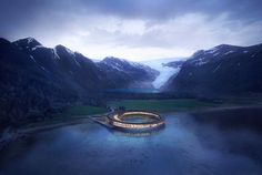 Snøhetta has designed the first energy-positive hotel in the world at the foot of the Svartisen glacier.