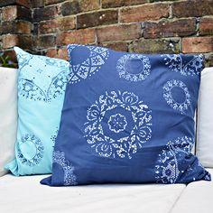 Doily Stencilled Cushion - fun addictive craft