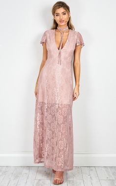 Head Over Heels lace maxi dress in rose