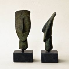 Small Cycladic Figurine Head in Bronze, Ancient Greece