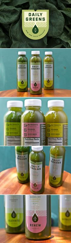 I really like the design on these Daily Greens labels. The color pallet is very organic and has a natural feel to it. Also, the font is easy to read and the words corresponding to the ingredient's color (example: dandelion with yellow) is a clever touch.
