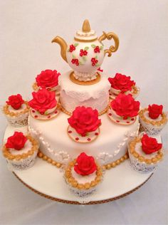 Teapot and rose in a teacup cake   Pretty Witty Cakes