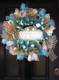 Large Mesh Wreath Spring Summer Easter Mothers Day Seashell Ocean Blue Green I'd Rather Be At The Beach Pool Lake House
