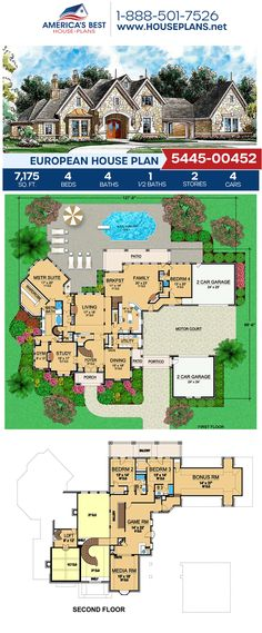 A spacious 7,175 sq. ft. European home design, Plan 5445-00452 details 4 bedrooms, 4.5 bathrooms, a breakfast nook, a bonus room, an exercise room, a formal living room, a loft, media room, and a study. #european #luxury #architecture #houseplans #housedesign #homedesign #homedesigns #architecturalplans #newconstruction #floorplans #dreamhome #dreamhouseplans #abhouseplans #besthouseplans #newhome #newhouse #homesweethome #buildingahome #buildahome #residentialplans #residentialhome European Plan, European House Plans, Best House Plans, Dream House Plans, Bungalow House Design, Old World Charm, Formal Living Rooms, Workout Rooms, Breakfast Nook