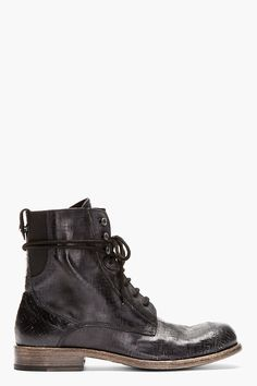 DIESEL BLACK GOLD Black leather cracked DANNY-BO BOOTs - $535
