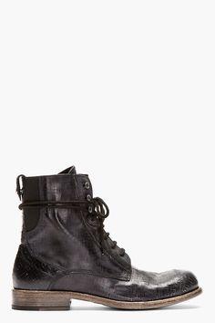 DIESEL BLACK GOLD Black leather cracked DANNY-BO BOOTs