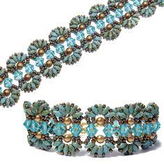 Farfalle Bracelet, new SuperDuo bead pattern by Deb Roberti at AroundTheBeadingTable.com