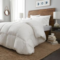Shop for European Heritage Dusseldorf White Goose Down Oversize All Year Weight Comforter. Get free delivery On EVERYTHING* Overstock - Your Online Bedding Basics Store! Get in rewards with Club O! White Comforter Bedroom, Comforter Sale, Down Comforter, King Comforter, White Duvet, Home Bedroom, Diy Bedroom Decor, Bedroom Ideas, Master Bedroom