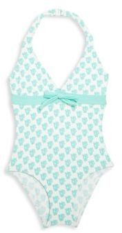 My peanut would love this bathing suite!  Elizabeth Hurley Beach Little Girl's One-Piece Halter Bikini