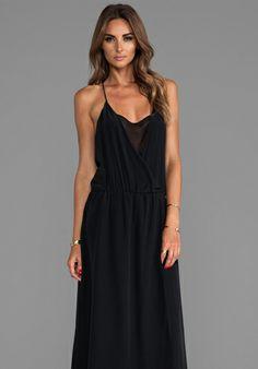 Helena Quinn Drape Front Maxi Dress in Black