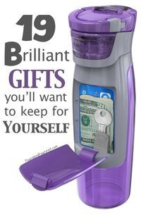 Some really unique and useful gift ideas - Like this Purple Sipper Bottle with a cash / ID compartment! http://www.buzzfeed.com/alannaokun/awesome-gifts-youll-want-to-keep-for-yourself#.vnLZo9zOq
