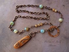 Lariat necklace and earring set / Copper Wire Wrapped Jewelry by PillarOfSaltStudio