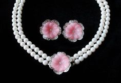"""Vintage KENNETH JAY LANE KJL """"Perfect Pansy"""" Book Piece Pearl Necklace Set"""