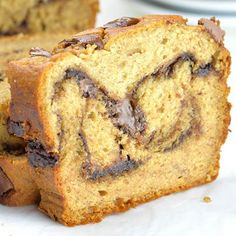 Peanut Butter Banana Bread swirled with Nutella and topped with chocolate chunks is the great breakfast for the busy morning.
