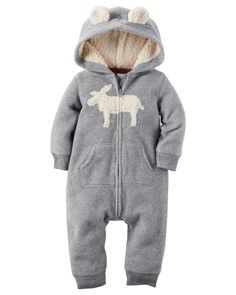 Super soft and cozy, this zip-up fleece jumpsuit keeps him warm from dusk to…
