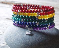 chakra bracelet - rainbow chakra beaded cuff with sterling silver lotus - 6 wrap memory wire bracelet - yoga jewelry