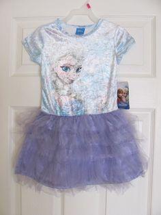 Girl's Short Sleeve Disney Frozen Elsa Purple Tutu Dress,  XS 4/5 #Disney #TutuDress #Everyday