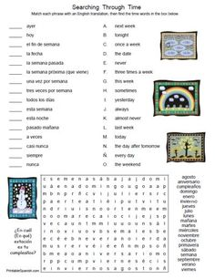 Printable Spanish FREEBIE of the Day: Searching Through Time worksheet & answer key from PrintableSpanish.com