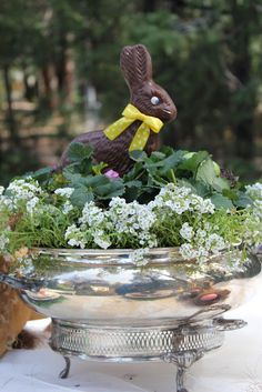 Lovely centerpiece using a silver container, strawberry and Allysum plants, chocolate bunny, small nests and eggs from Courtney at French Country Cottage. She has the best ideas!