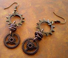 Brass and Wheel Gear Steampunk earrings by marokel on Etsy. $9.50, via Etsy.