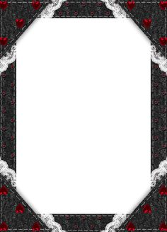 Black Transparent Frame with Red Hearts
