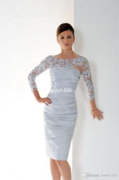 396bd2dcc335 Graceful Silver Short Mother Of The Bride Dresses With 3 4 Sleeves Lace  Appliques Pleats Plus Size Knee Length Women Formal Evening Gowns