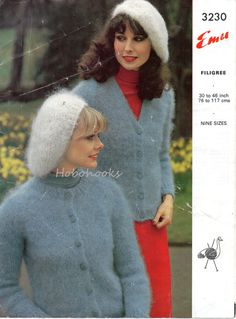 A personal favourite from my Etsy shop Knitwear Fashion, Knit Fashion, Vintage Patterns, Knitting Patterns, Cardigan Pattern, Grey Cardigan, Angora Sweater, Retro Pattern, Vintage Knitting