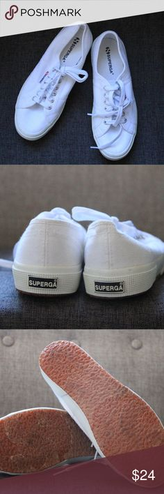 Nice Condition White Superga Sneakers! Pretty great condition, only worn a handful of times. Make me an offer! Superga Shoes Sneakers