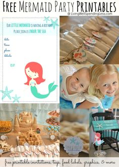 Free mermaid party printables!  Super cute mermaid invitations, tags, food labels, iron-on transfers & more.  So adorable!  Awesome resource if you happen to be planning a mermaid party!